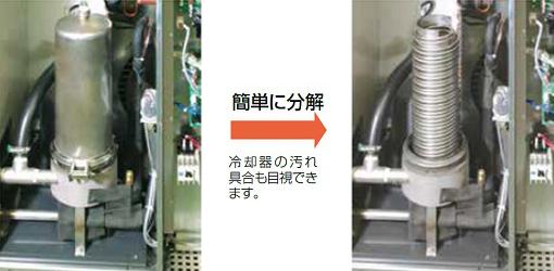 冷却器の汚れ具合も目視できます