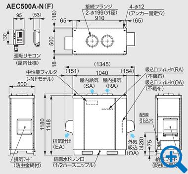 AEC500A-N(F)外形図
